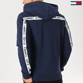 b4766907ba94d Tommy Hilfiger Jeans - Sweat Capuche Avec Bandes Tape 6057 Bleu Marine