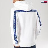 /achat-sweats-capuche/tommy-hilfiger-jeans-sweat-capuche-avec-bandes-tape-6057-blanc-167095.html