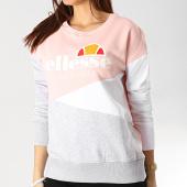 /achat-sweats-col-rond-crewneck/ellesse-sweat-crewneck-femme-tricolore-1076n-rose-gris-chine-blanc-167370.html