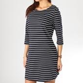https://www.laboutiqueofficielle.com/achat-robes/robe-femme-brillant-3-4-bleu-marine-blanc-167947.html