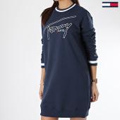 /achat-robes/tommy-hilfiger-jeans-robe-femme-logo-6170-bleu-marine-168563.html
