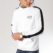 /achat-sweats-zippes-capuche/ea7-sweat-zippe-capuche-avec-bandes-3gpm22-pj05z-blanc-noir-169960.html