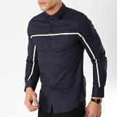 /achat-chemises-manches-longues/frilivin-chemise-manches-longues-avec-bandes-bm1072-bleu-marine-170262.html