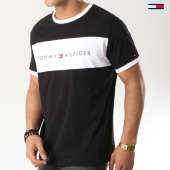 /achat-t-shirts/tommy-hilfiger-jeans-tee-shirt-logo-flag-1170-noir-blanc-170036.html
