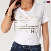 /achat-t-shirts/tommy-hilfiger-jeans-tee-shirt-femme-metallic-logo-6233-blanc-dore-170082.html