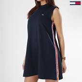 /achat-robes/tommy-hilfiger-jeans-robe-femme-bandes-brodees-line-6324-bleu-marine-170088.html