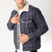 /achat-vestes/classic-series-veste-col-mouton-a-carreaux-6459-bleu-marine-ecru-170398.html