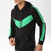 /achat-sweats-zippes-capuche/frilivin-sweat-zippe-capuche-a-bandes-6080-noir-vert-170942.html