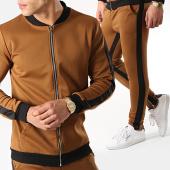/achat-ensembles-survetement/frilivin-ensemble-de-survetement-avec-bandes-6095a-1554-camel-noir-170946.html
