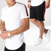 /achat-ensembles-survetement/lbo-ensemble-tee-shirt-et-short-avec-bandes-675-noir-blanc-171279.html
