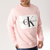 /achat-sweats-col-rond-crewneck/calvin-klein-sweat-crewneck-monogram-box-logo-7746-rose-blanc-noir-171290.html