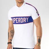 /achat-polos-manches-courtes/superdry-polo-manches-courtes-avec-bandes-retro-sport-applique-m11014et-blanc-172040.html