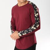 /achat-t-shirts-manches-longues/frilivin-tee-shirt-oversize-a-manches-longues-avec-bandes-5200-bordeaux-noir-renaissance-172849.html