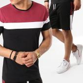 /achat-ensembles-survetement/lbo-ensemble-tee-shirt-et-short-avec-bandes-680-noir-blanc-bordeaux-173082.html