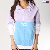 /achat-coupe-vent/tommy-hilfiger-jeans-coupe-vent-femme-retro-color-pop-blanc-bleu-clair-lilas-172879.html