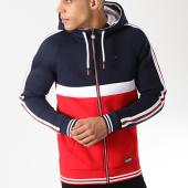 /achat-sweats-zippes-capuche/teddy-smith-sweat-zippe-capuche-avec-bandes-grifin-rouge-bleu-marine-blanc-173216.html