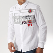 /achat-chemises-manches-longues/geographical-norway-chemise-manches-longues-patchs-brodes-zadock-blanc-173271.html