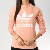 /achat-sweats-col-rond-crewneck/adidas-sweat-crewneck-femme-trefoil-dv2627-rose-blanc-173832.html