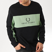 /achat-sweats-col-rond-crewneck/fred-perry-sweat-crewneck-panel-pipped-noir-vert-173654.html