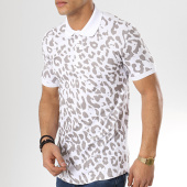 /achat-polos-manches-courtes/ikao-polo-manches-courtes-oversize-f469-blanc-leopard-173760.html