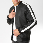 /achat-vestes/classic-series-veste-zippee-avec-bandes-m4007-noir-blanc-174255.html