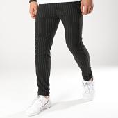 /achat-pantalons-carreaux/classic-series-pantalon-raye-m3066-noir-174370.html