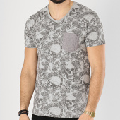 /achat-t-shirts-poche/mz72-tee-shirt-poche-trace-gris-chine-floral-174386.html