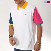 /achat-polos-manches-courtes/tommy-hilfiger-jeans-polo-manches-courtes-color-block-6024-blanc-jaune-rose-174359.html