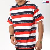 /achat-t-shirts/tommy-hilfiger-jeans-tee-shirt-branded-stripe-6077-blanc-rouge-bleu-marine-174374.html