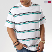 /achat-t-shirts/tommy-hilfiger-jeans-tee-shirt-signature-stripe-logo-6087-blanc-vert-174376.html