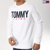 /achat-sweats-col-rond-crewneck/tommy-hilfiger-jeans-sweat-crewneck-essential-logo-6291-blanc-174378.html