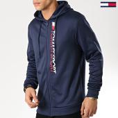 /achat-sweats-zippes-capuche/tommy-sport-sweat-zippe-capuche-vertical-logo-0066-bleu-marine-174978.html