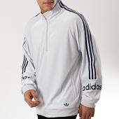 /achat-sweats-col-zippe/adidas-sweat-de-sport-a-bandes-velour-half-zip-fh7907-gris-175405.html