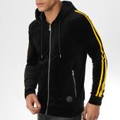 /achat-sweats-zippes-capuche/project-x-sweat-capuche-zippe-velours-a-bandes-88183304-noir-jaune-175533.html
