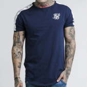 /achat-t-shirts-longs-oversize/siksilk-tee-shirt-oversize-a-bandes-13977-bleu-marine-175641.html