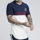 /achat-t-shirts-longs-oversize/siksilk-tee-shirt-oversize-13578-bleu-marine-bordeaux-ecru-dore-175643.html