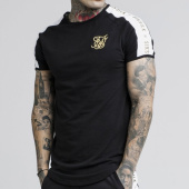 /achat-t-shirts-longs-oversize/siksilk-tee-shirt-oversize-a-bandes-14271-noir-blanc-dore-175665.html