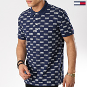 /achat-polos-manches-courtes/tommy-hilfiger-jeans-polo-manches-courtes-all-over-print-6028-bleu-marine-175725.html