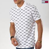 /achat-polos-manches-courtes/tommy-hilfiger-jeans-polo-manches-courtes-all-over-print-6028-blanc-175729.html