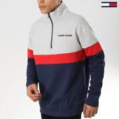 /achat-sweats-col-zippe/tommy-hilfiger-jeans-sweat-col-zippe-retro-mock-5487-gris-chine-rouge-bleu-marine-175735.html