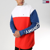 /achat-sweats-col-zippe/tommy-hilfiger-jeans-sweat-color-block-mock-6059-rouge-bleu-marine-blanc-175762.html