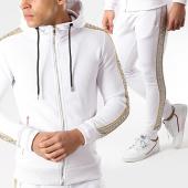 /achat-ensembles-survetement/zayne-paris-ensemble-de-survetement-avec-bandes-tx-225-blanc-dore-175833.html