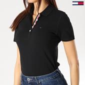 /achat-polos-manches-courtes/tommy-hilfiger-jeans-polo-manches-courtes-femme-original-4434-noir-176181.html