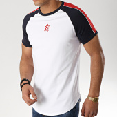 /achat-t-shirts-longs-oversize/gym-king-tee-shirt-oversize-a-bandes-contrast-piped-blanc-rouge-bleu-marine-176260.html
