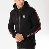 /achat-sweats-zippes-capuche/gym-king-sweat-zippe-capuche-a-bandes-la-fz-noir-176315.html