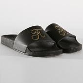 /achat-claquettes-sandales/final-club-claquettes-gold-label-logo-213-noir-or-176797.html