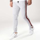 /achat-pantalons-joggings/lbo-pantalon-jogging-avec-bandes-noir-et-rouge-691-gris-chine-176816.html