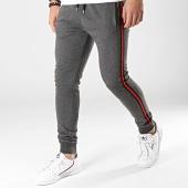 /achat-pantalons-joggings/lbo-pantalon-jogging-avec-bandes-noir-et-rouge-693-gris-anthracite-chine-176817.html