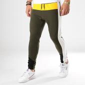 /achat-pantalons-joggings/classic-series-pantalon-jogging-a-bandes-w19091-vert-kaki-jaune-blanc-177536.html