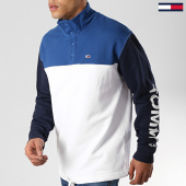 /achat-sweats-col-zippe/tommy-hilfiger-jeans-sweat-col-montant-colorblock-mock-6059-blanc-bleu-marine-177563.html